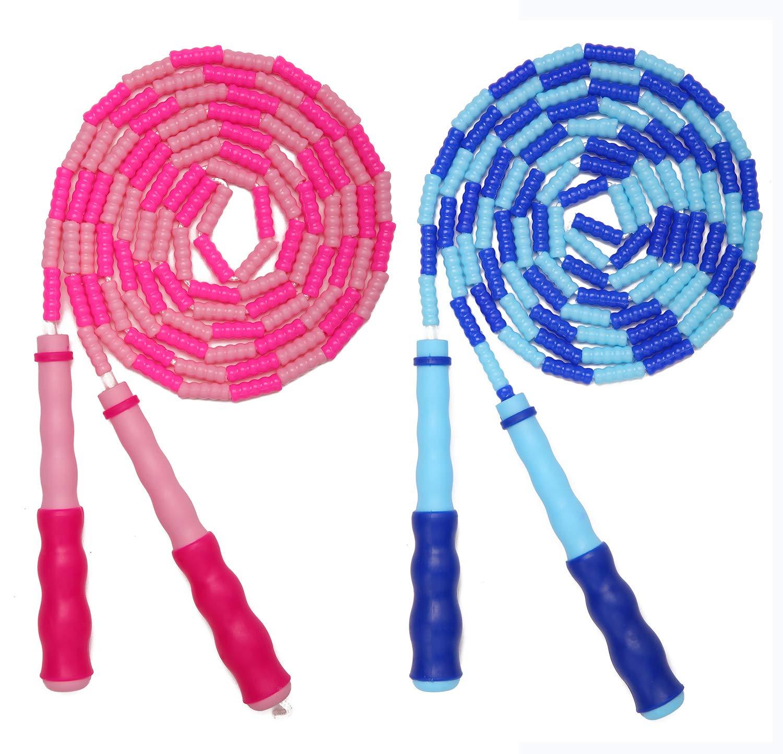 AlexBasic Segmented Skip Ropes Jump Rope for Kids 2 Pack Adjustable Skipping Rope Pink /& Blue