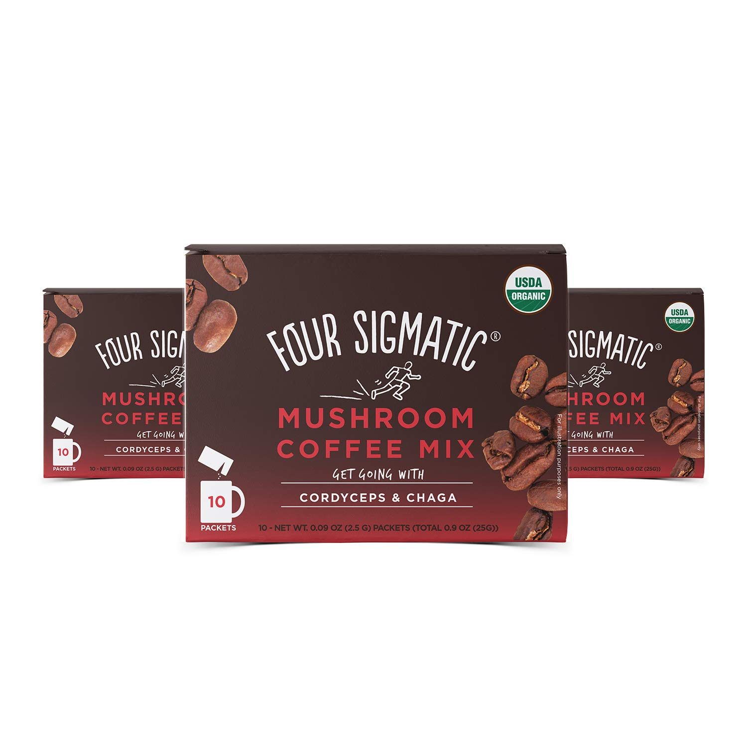 Four Sigmatic Mushroom Coffee Mix Cordyceps and Chaga Pack of 3 (30 Packets Total) by Four Sigmatic