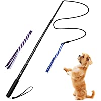 Extendable Dog Flirt Pole,ANG Interactive Dog Teaser Wand with 2 Chew Rope Dog Toy Outdoor Playing for Pulling, Chasing, Chewing, Teasing, Training and Exercise (L, Black)