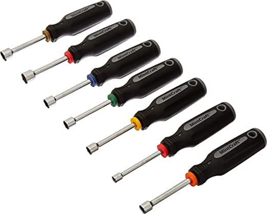 14PC Hollow Shaft Nut Driver Set SAE /& Metric Screwdriver Color Coded Handles