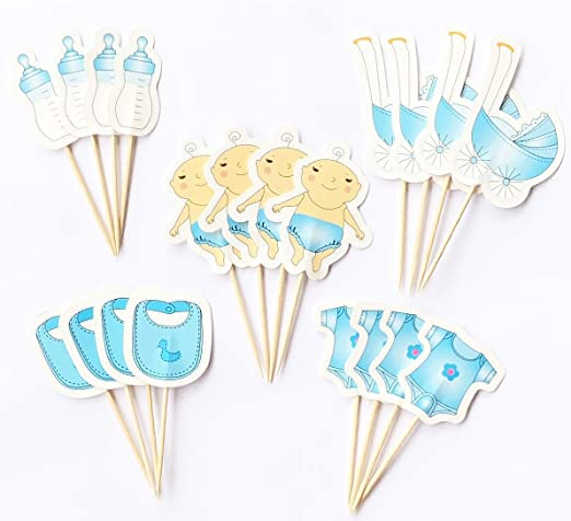 Lming Fait /à la Main 20 Chefs g/âteau d/écoration Toppers pour g/âteau Cupcake et Glace Baby Shower Boy