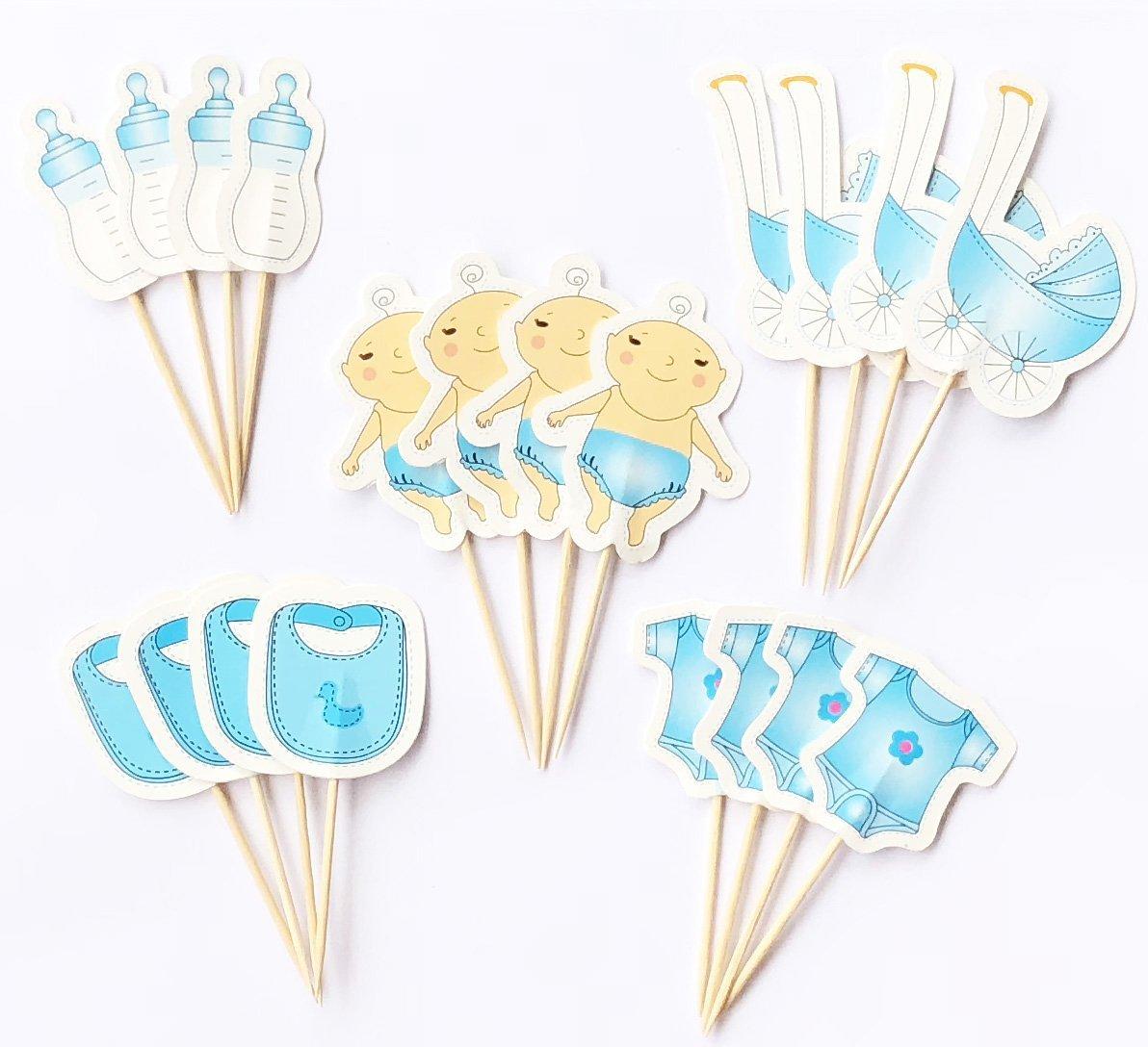 20 cuentos hechos a mano para decorar pasteles para pastel cupcake y helado - baby shower boy: Amazon.es: Hogar