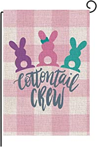 Anntool Easter Garden Flag, Double Sided Easter Bunny Eggs Burlap Yard Flags, Welcome Quote Flag Spring Outdoor Decoration, 12''x18''
