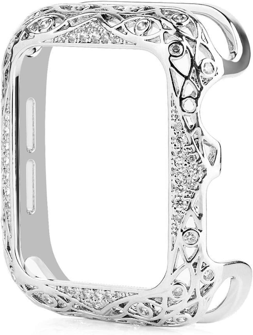 FAAGFC Carved Copper Women Luxury Bumper for Apple Watch Case 44/40mm 42/38mm Diamond Bling Metal Cover for IWatch Series SE/6/5/4/3/2 (Color : 1.Silver, Dial Diameter : 42mm)