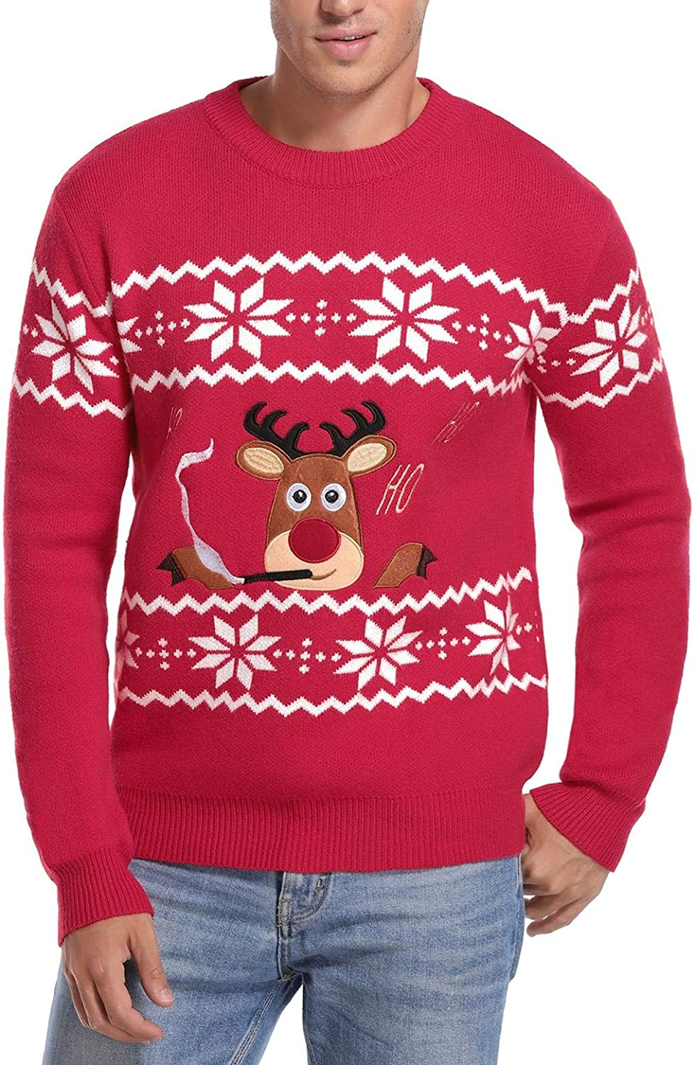 Abollria Christmas Sweater for Men Cute Deer Knitted Sweater for Mens Pullover Tops