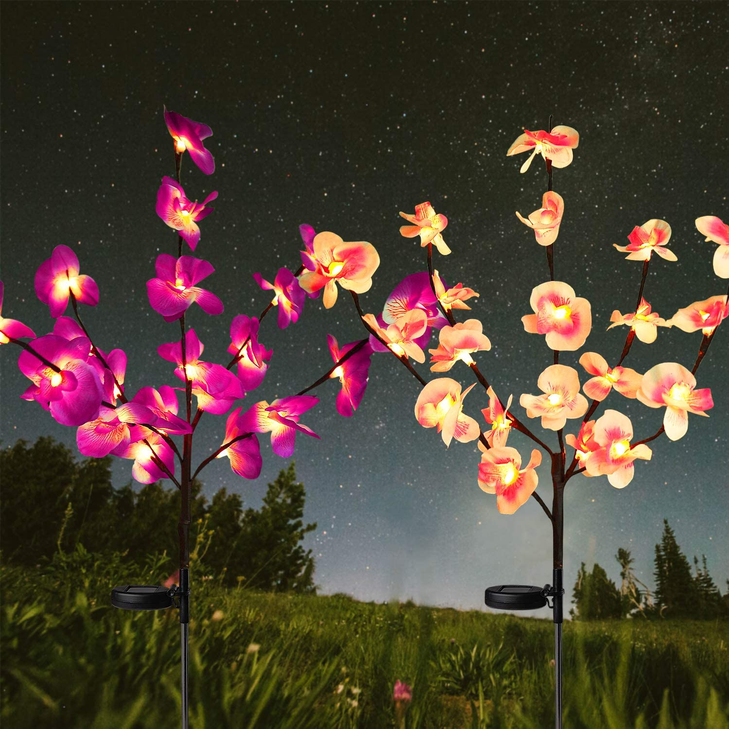 HeyMate Solar Garden Lights Outdoor Decorative- 2 Pack Solar Orchid Flower Lights for Garden,Patio,Backyard(Purple & Pink)