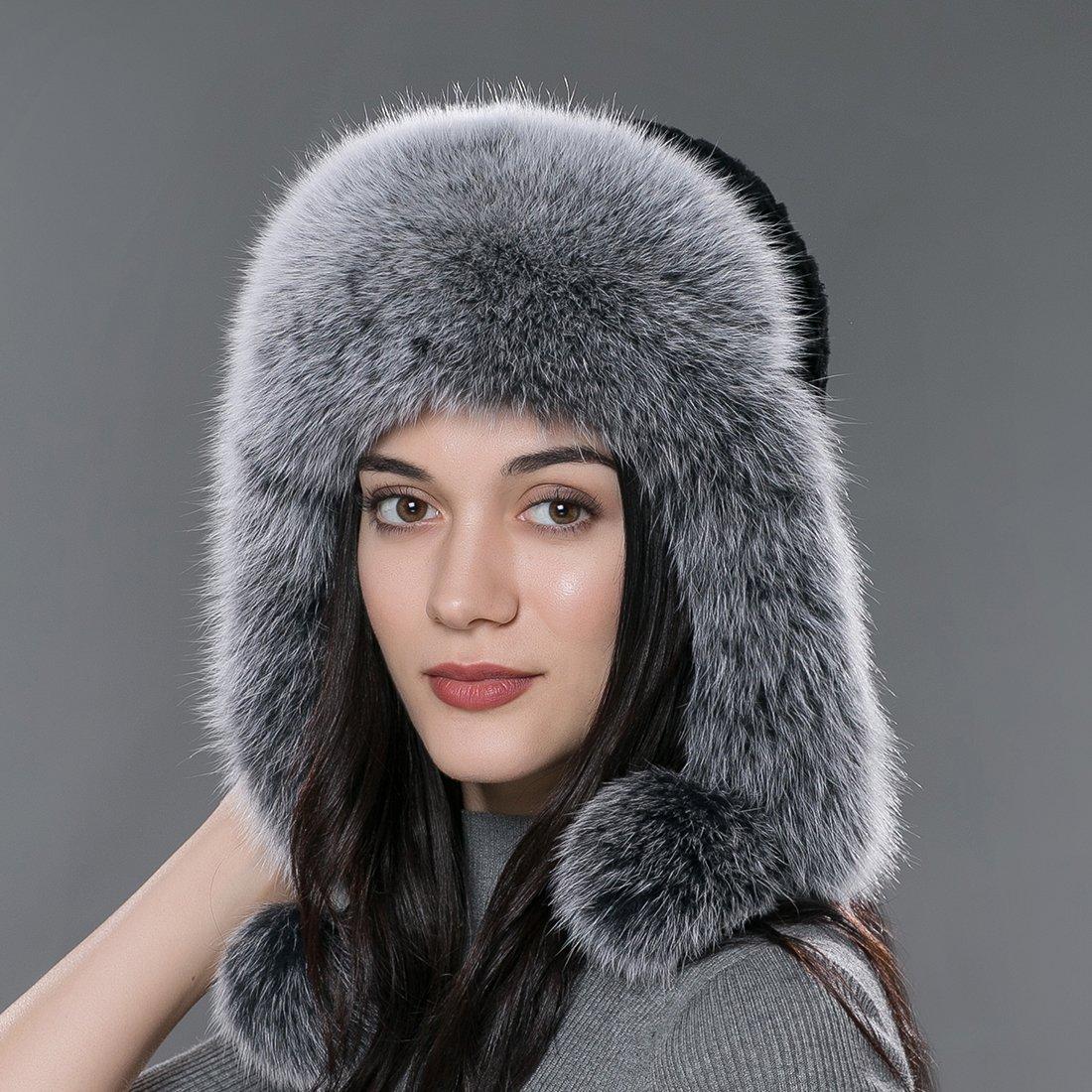 8fc89e9e861df Bomber Hats URSFUR Winter Men Fur Hat Real Fox Fur Russian Ushanka Trapper  Cap .Ltd.