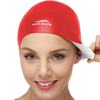 Swim Elite 2-in-1 Wrinkle-Free Silicone Swim Cap