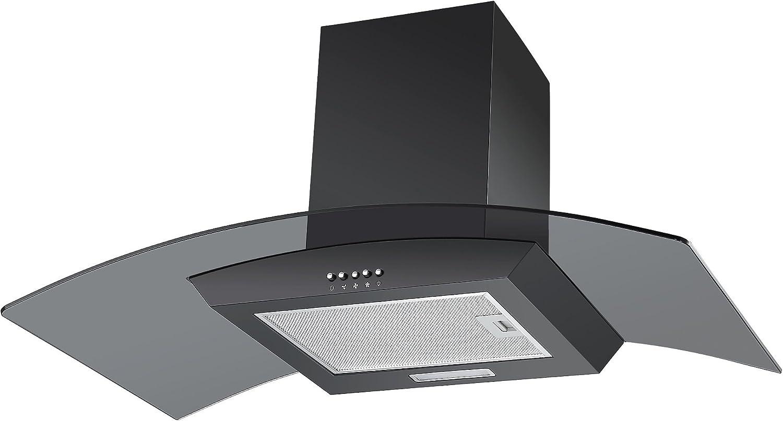 Extractor de humos de Cookology CGL900BK de 90 cm y de cristal, extractor de cocina de diseño curvado en negro con filtros: Amazon.es: Grandes electrodomésticos