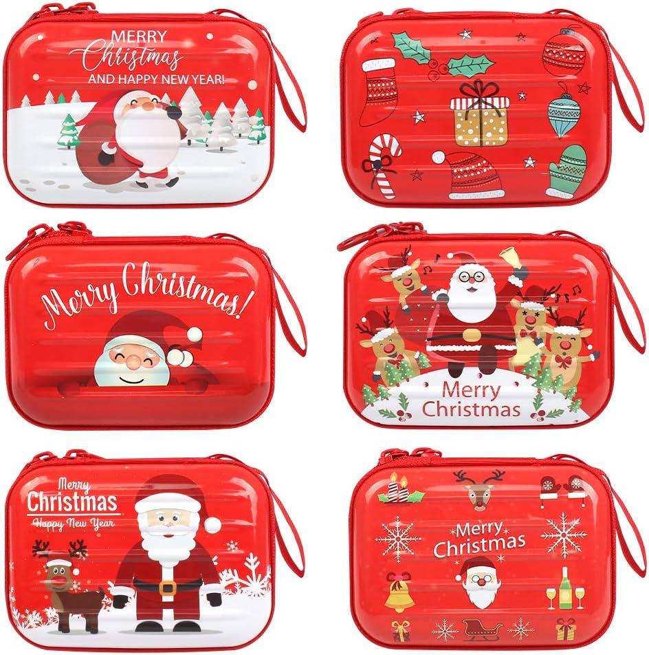 6pcs Monederos de Navidad Cartera de Navidad, Caja Bolsas Caramelos Navidad, 10 * 7 * 3cm Monedero Navideño Decoraciones Navideñas Bolsa de Almacenamiento de Santa Claus