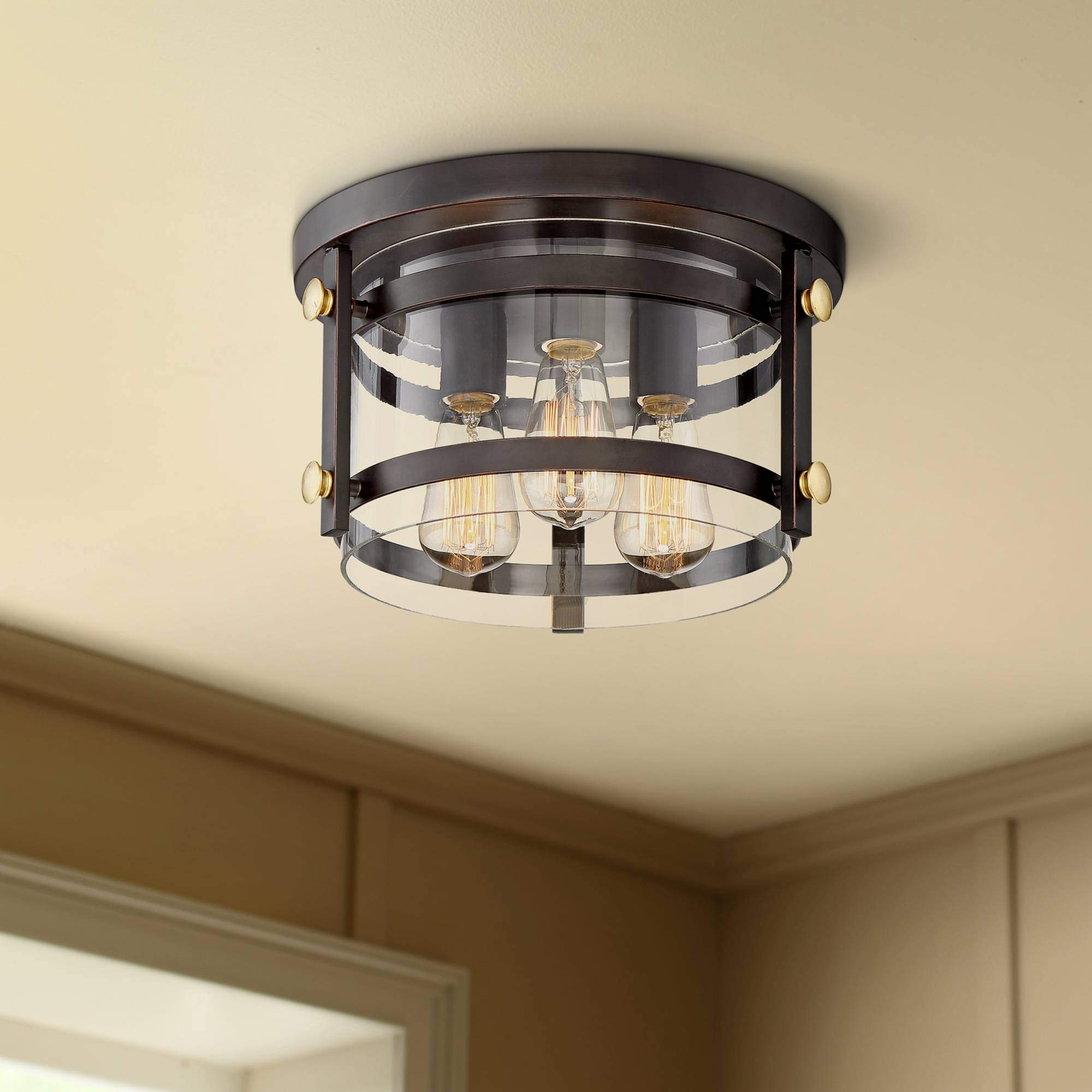 Eagleton 13 1/2'' Wide Oil-Rubbed Bronze LED Ceiling Light - Franklin Iron Works