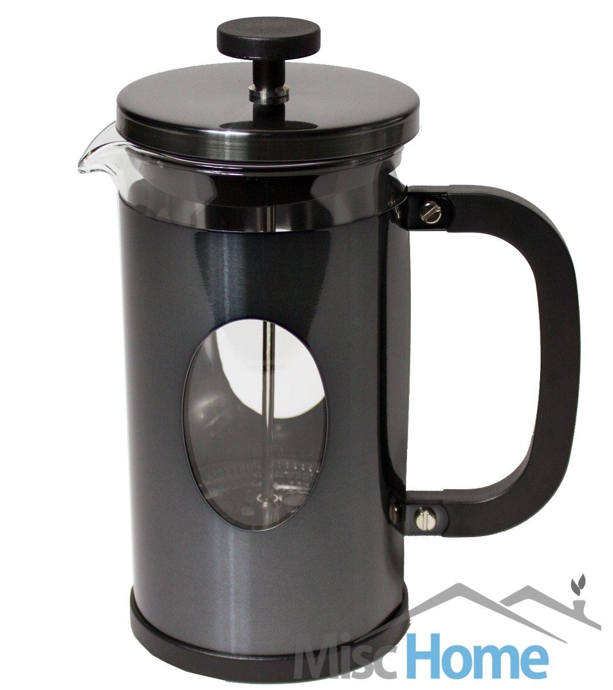 [1 Liter, 34 Oz] Gourmet Gunmetal Finish Stainless Steel French Press Coffee Maker Tea Maker, Coffee Press (Gunmetal)