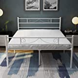 HAAGEEP 18 Inch White Queen Bed Frame with Headboard and Footboard No Box Spring Needed Metal Platform Raised Steel Bedframe