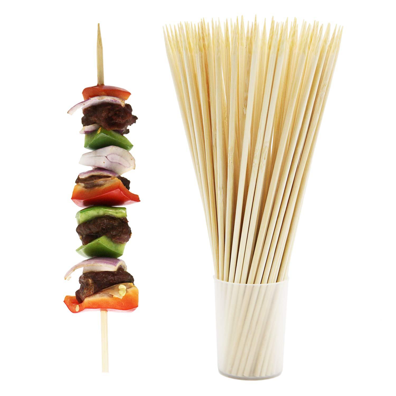 Prouten Thick Sturdy Bamboo Skewer Sticks BBQ shish Kabob Fruit Kebab Eco Friendly 10inch X 4mm 100pcs