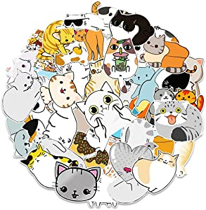 50Pcs Cute Cat Stickers Decal Pack,Beautiful Waterproof Vinyl Insect Sticker for Laptop,Car,Guitar,Water Bottle,Travel Case Decals