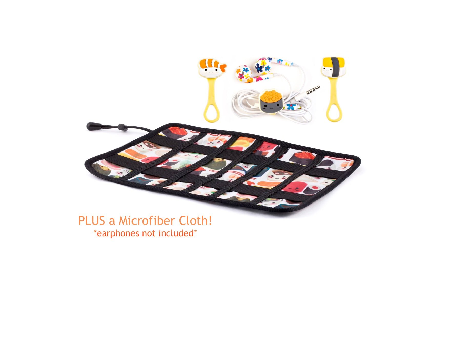 Traveling cord organizers with cord ties for cables, chargers, earphones, etc. Sushi
