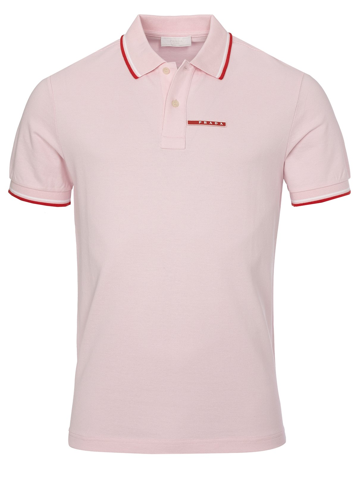 Prada Men's Cotton Piqué Short Sleeve Slim Fit Polo Shirt, Pink SJJ887 (Large)