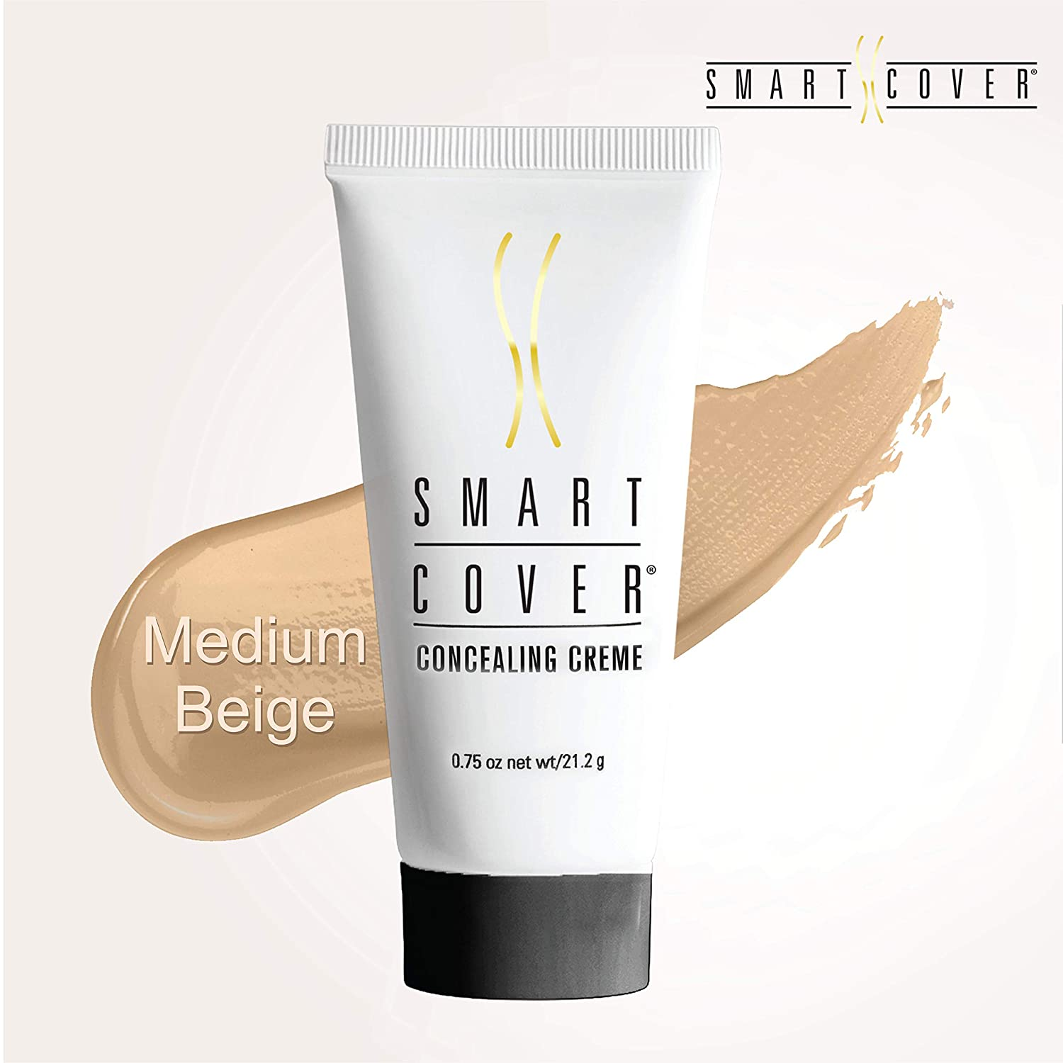 Smart Cover 0.8oz Concealer Cream For Medium Beige Skin Tones, Dries Matte, No Setting Powder Needed. Instantly Covers Dark Eye Circles, Scars, Birthmarks, Blemishes, Age Spots, Varicose Veins & More