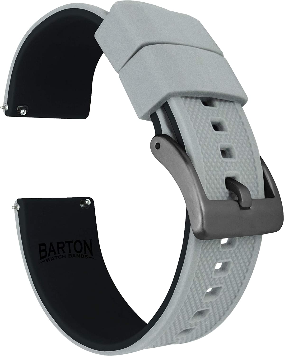 Barton Elite Silicone Watch Bands - Gunmetal Grey Buckle Quick Release - Choose Color - 18mm, 19mm, 20mm, 21mm, 22mm, 23mm & 24mm Watch Straps