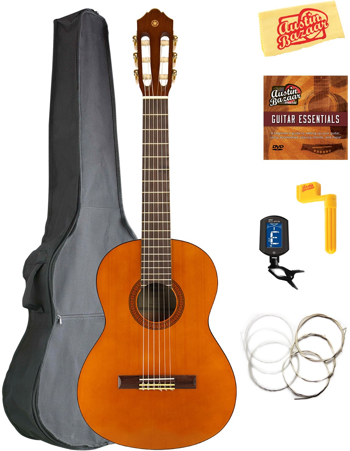 Yamaha CGS102A 1/2-Size Classical Guitar Bundle with Gig Bag, Tuner, Strings, String Winder, Austin Bazaar Instructional DVD, and Polishing Cloth by YAMAHA