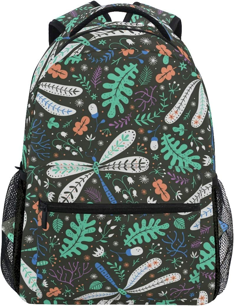 Dragonfly With Floral Backpacks Travel Laptop Daypack School Bags for Teens Men Women