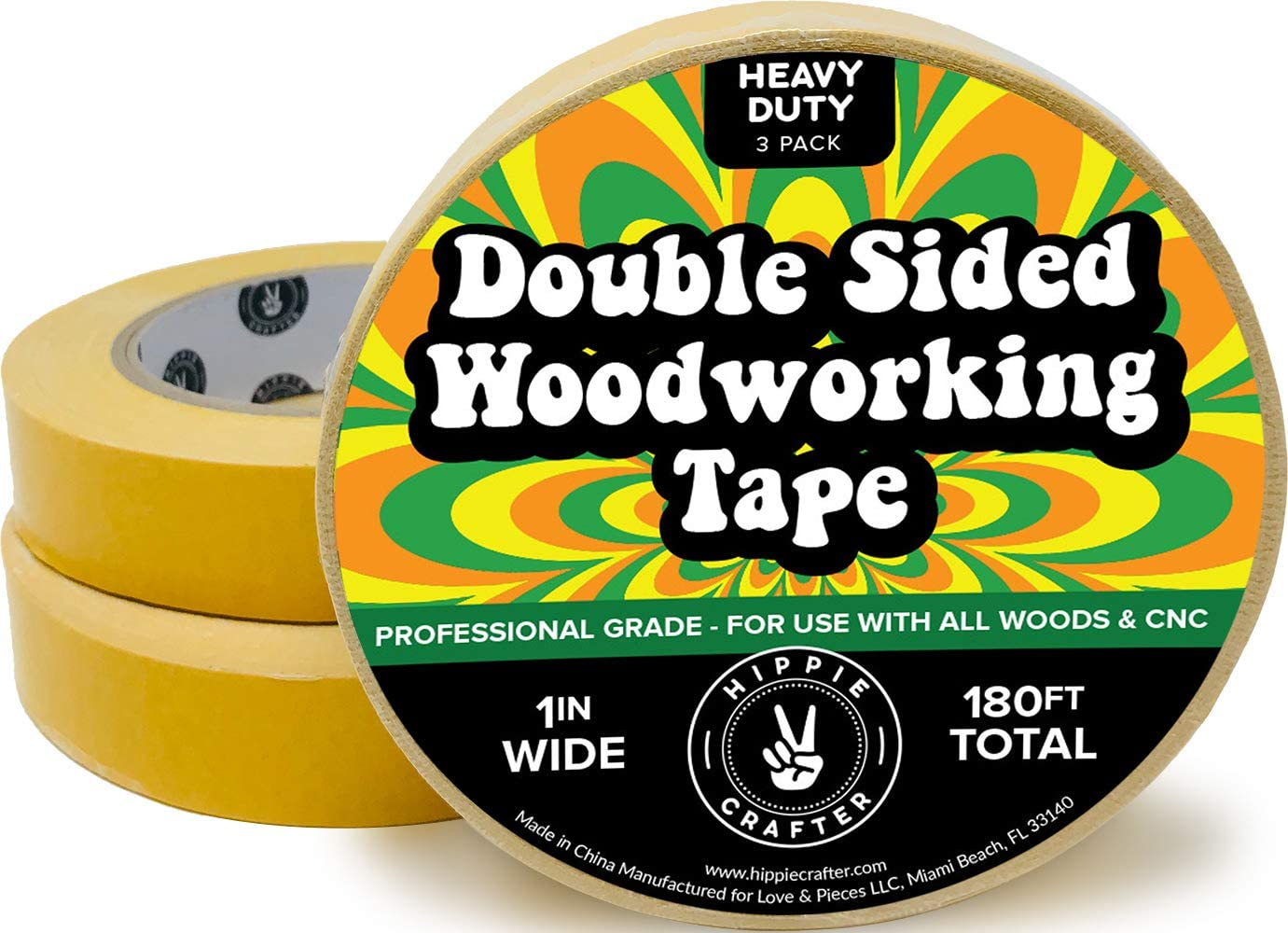 """3 Pk Double Stick Tape for Woodworking - 1 inch Wide Wood Tape Double Sided for Woodworkers - 3 Packs 1"""" x 60 Feet (180FT Total)"""