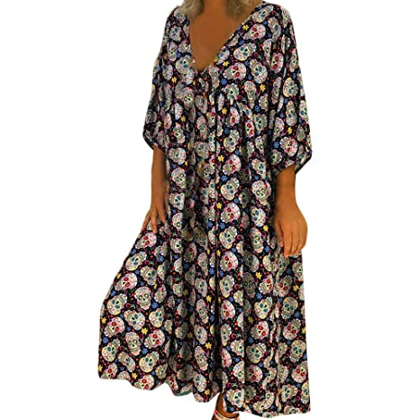 Youngh Womens Dress Skull Print Loose Three Quarter Sleeves V-Neck Fashion Evening Party Dress Long Maxi Dress: Amazon.com: Grocery & Gourmet Food