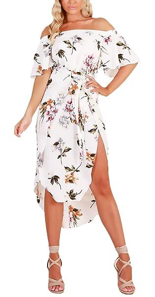 Vestidos Verano Mujer Elegantes Manga Corta Sin Hombro Estampado Flores Irregular Asimétrica Vestidos Playa Vestido Casual Señora Moda Fiesta: Amazon.es: ...