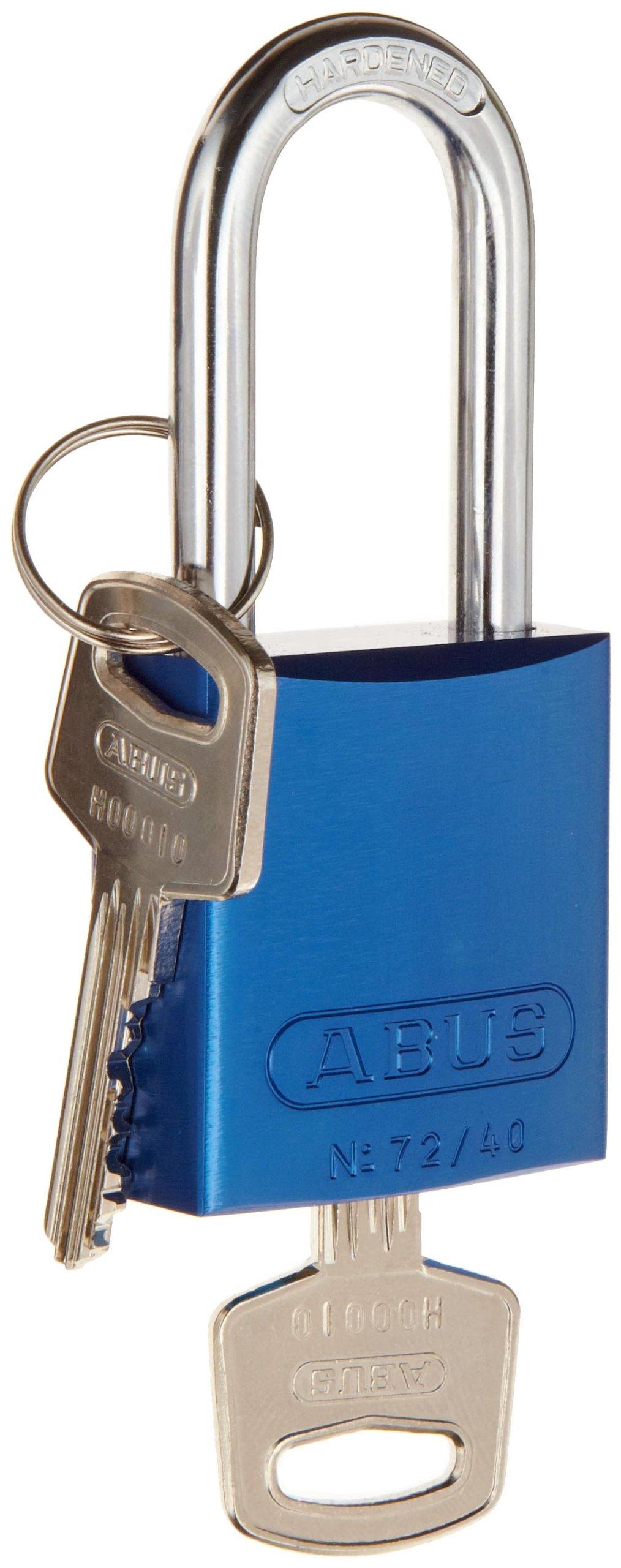 Brady  Aluminum Lockout/Tagout Padlock, Keyed Alike, 1-3/5'' Body Length, 1-1/2'' Shackle Clearance, Blue (Pack of 6)