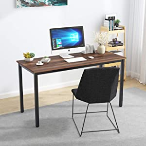 DlandHome 55 Inches Large Computer Desk, Composite Wood Board, Decent & Steady Home Office Desk/Workstation/Table, BS1-140BW