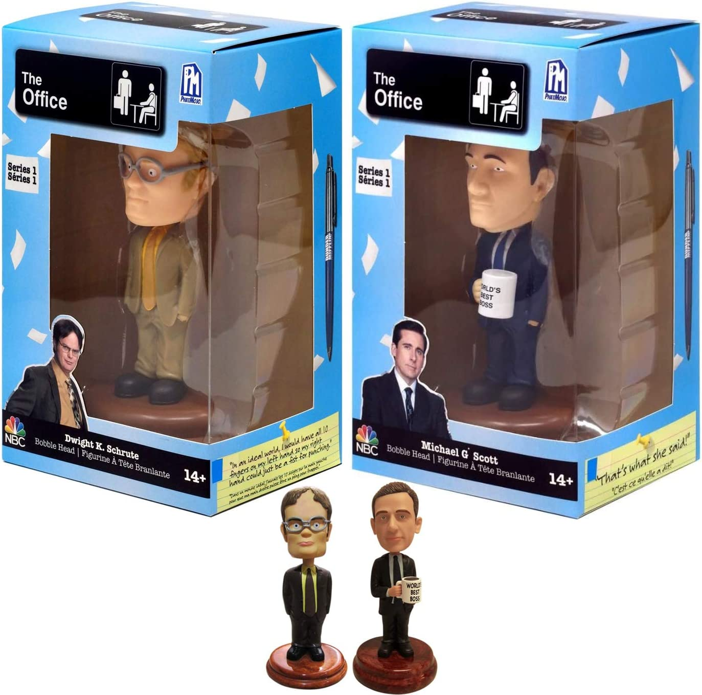 The Boss Figure Collectible NBC Dunder-Mifflin World's Best Boss Micheal Scott Bundled with TV Series Dwight Schrute 2 Items