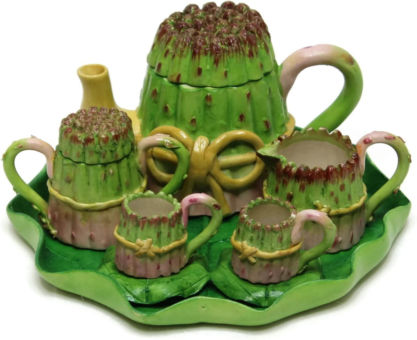 two cups and saucers Green Floral Miniature Teapot Collector item 112 Scale polymer clay Doll house tea set Miniature Tea Set