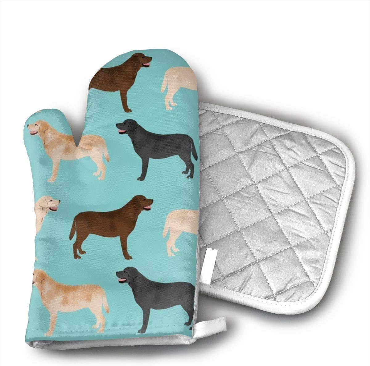 Wiqo9 Cute Labradors Yellow Chocolate Black Lab Pet Dogs Oven Mitts and Pot Holders Kitchen Mitten Cooking Gloves,Cooking, Baking, BBQ.