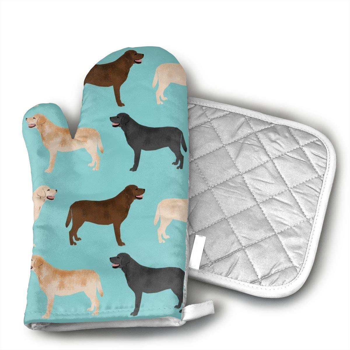 Cute Labradors Yellow Chocolate Black Lab Pet Dogs Kitchen Potholder - Heat Resistant Oven Gloves to Protect Hands and Surfaces with Non-Slip Grip,Ideal for Handling Hot Cookware Items.