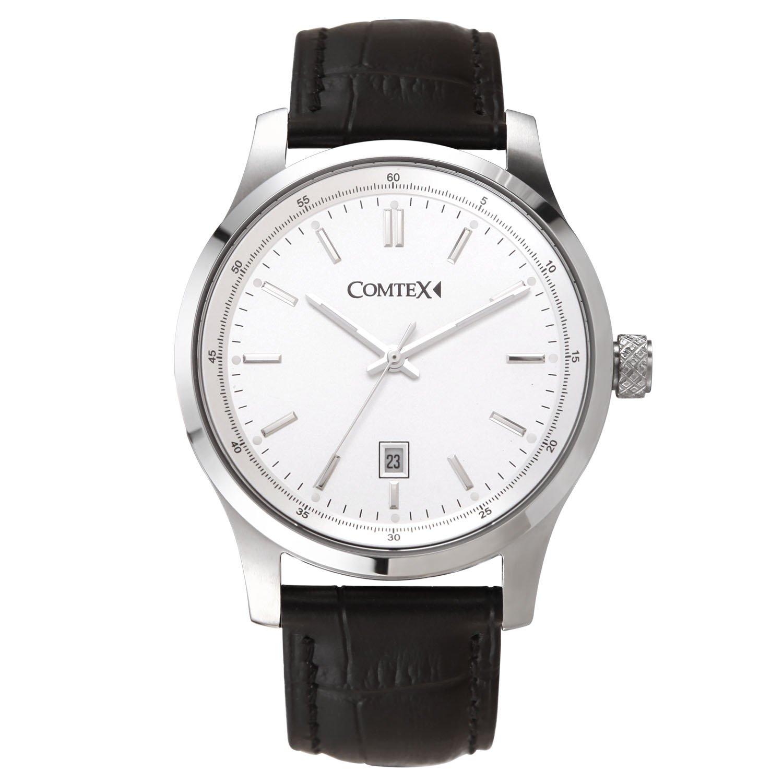 Comtex Herren-Armbanduhr Klassische Quarz Analog mit weißes Zifferblatt Schwarz Leder Uhren
