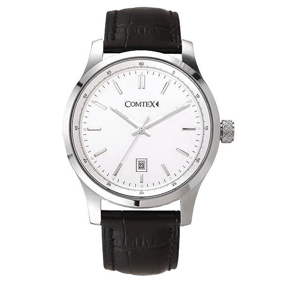 Comtex Hombre Relojes de Analógico Cuarzo con Pulsera de Acero Inoxidable Visualización de Fecha