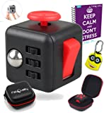 FabQuality Cube Anxiety Attention Toy With BONUS CASE + eBook Included + Minion Key Chain - Relieves Stress And Anxiety And Relax for Children and Adults BONUS EBOOK is sent by email