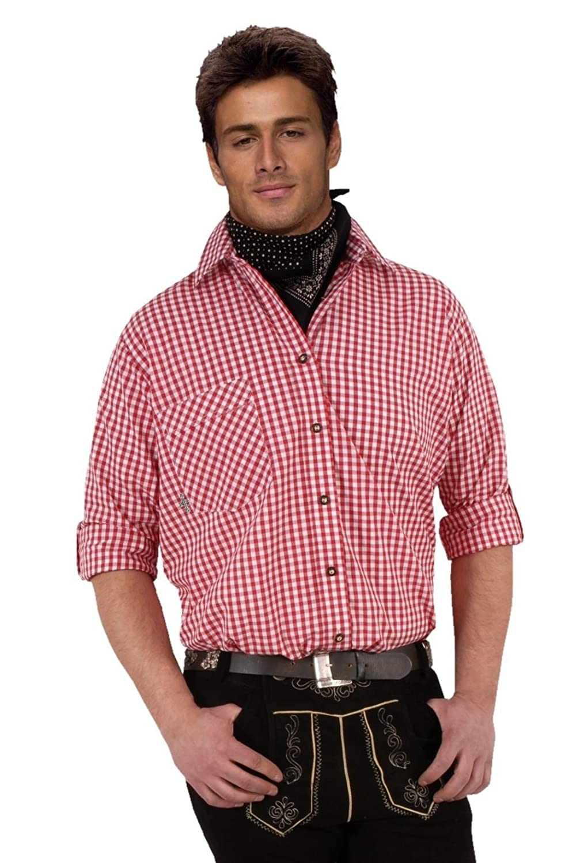 Top-Quality Trachtenhemd Herren - Rot-Karo/kariert - Langarm/Kurzarm - Komfort Reine Baumwolle - bügelfrei easy-care