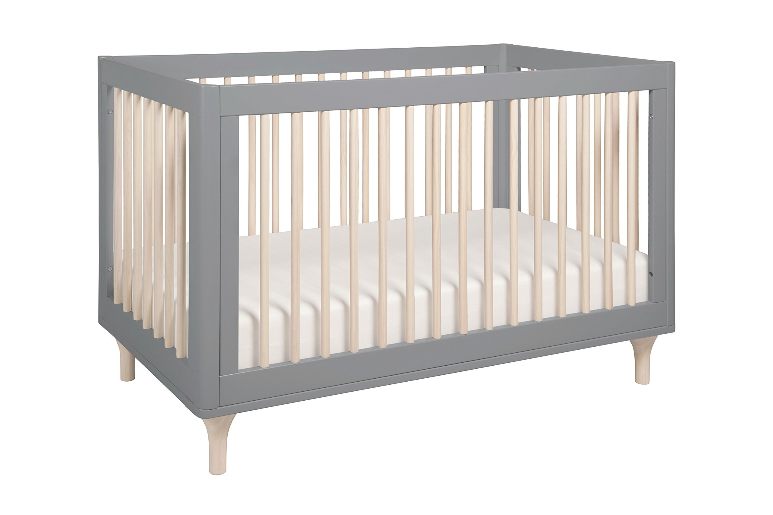 Babyletto Lolly 3-in-1 Convertible Crib with Toddler Bed Conversion Kit, Grey / Washed Natural