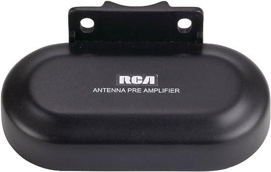 Preamplificador RCA TVPRAMP1R para mejorar el rendimiento y la extensión de la antena al aire libre (uso con ANT3038XR y ANT3036XR), negro, modelo: ...