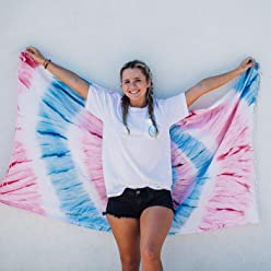 Sand Cloud Patriot Swirl Tie Dye Beach Towel Blanket Tapestry Wall Hanging - 100% Turkish Cotton by As Seen on Shark Tank