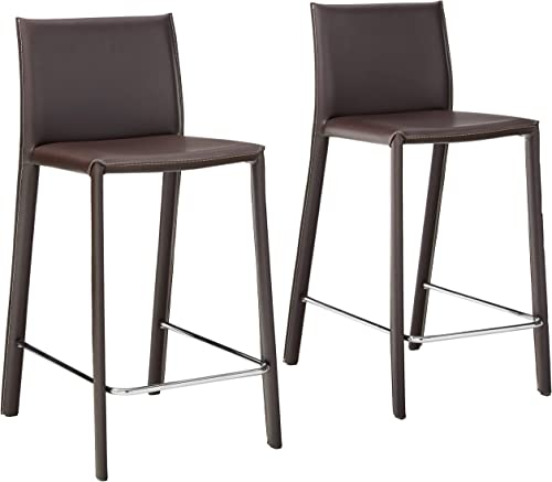 Baxton Studio 35-1 2-Inch-Tall Leather Counter Stool, Set of 2, Espresso Brown