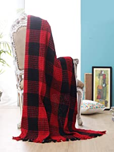 Buffalo Plaid Cotton Throw Blanket with Fringes 50x60 Inch- Red Black,Cotton Throw for Sofa, Farmhouse Throw,Throw for Couch,Everyday Use,Well Crafted for Durabilty,All Season Blanket