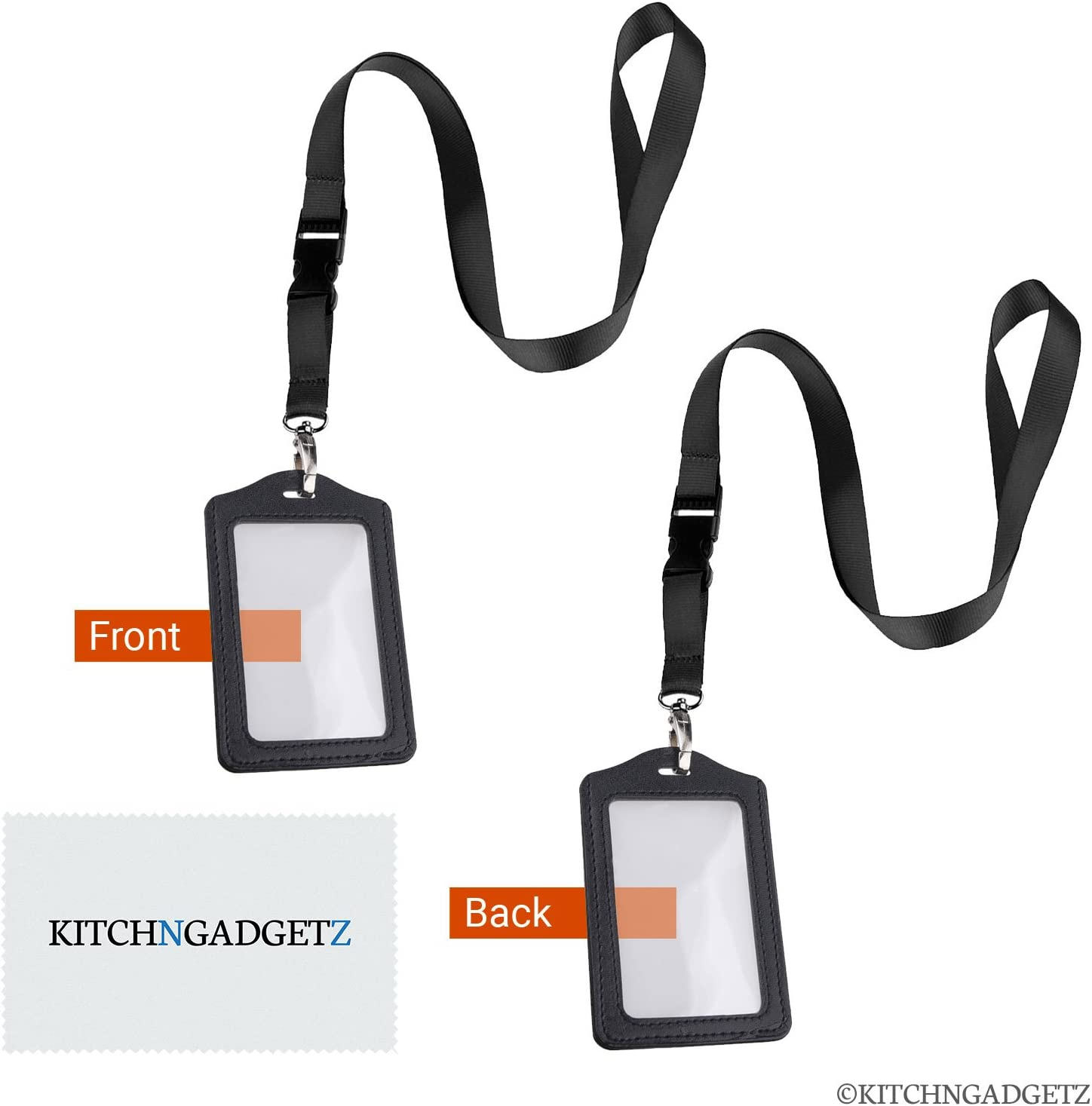 Neck Lanyards with Faux Leather Badge Holder, 2 Pack - Strong Oval Hook, Quick Release Tether - Perfect for Trade Shows, ID Badges, Keys, etc. - Heavy Duty Nylon - Shield Tech Retail Package