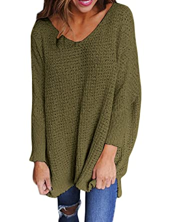 Armear Womens Oversized Plain Long Sleeve V Neck Knitted Baggy ...