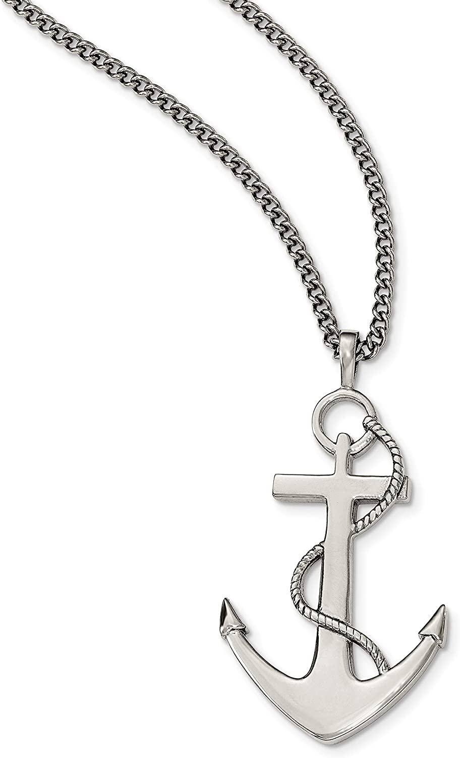 Jewelry Stores Network Sterling Silver Polished CZ Anchor Pendant
