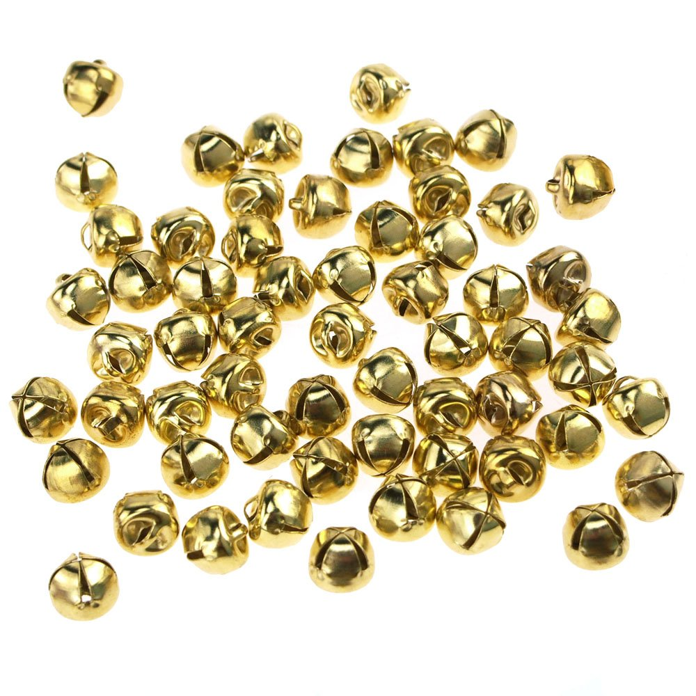 Homeford Mini Metal Jingle Bells, 3/8-Inch, 60-Piece (Gold)