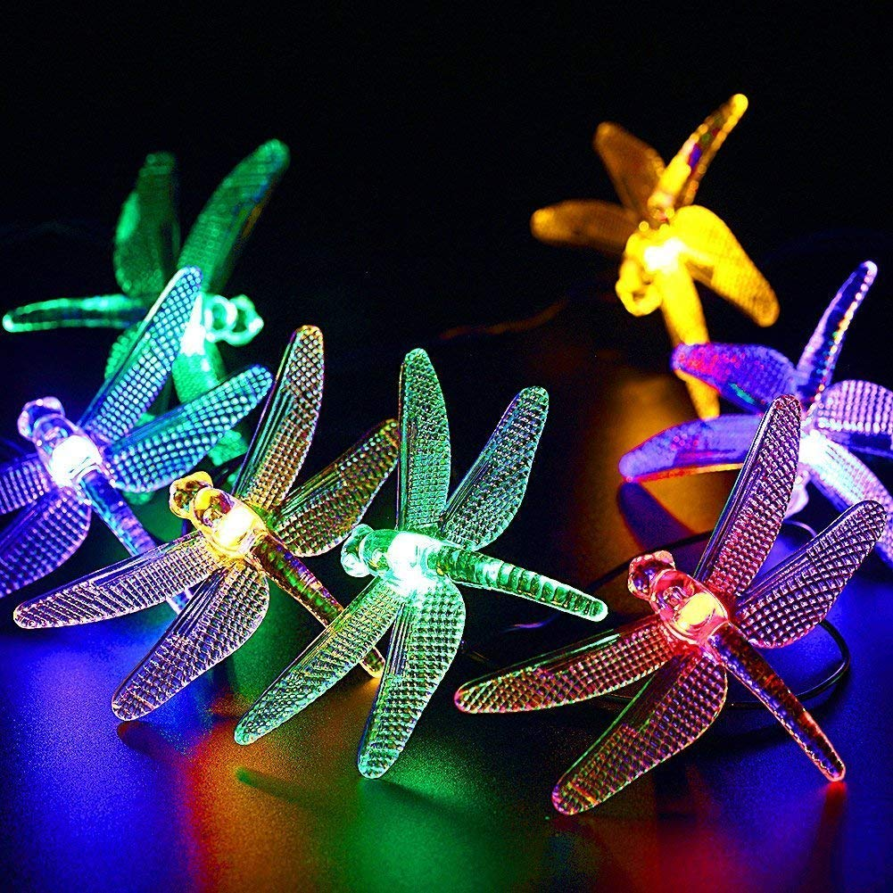 CIAOYE Outdoor Dragonfly Solar String Lights, 20LED 16ft Waterproof Fairy Lighting for Christmas Trees, Garden, Patio, Fence, Wedding, Party and Holiday Decorations (Multi Color)
