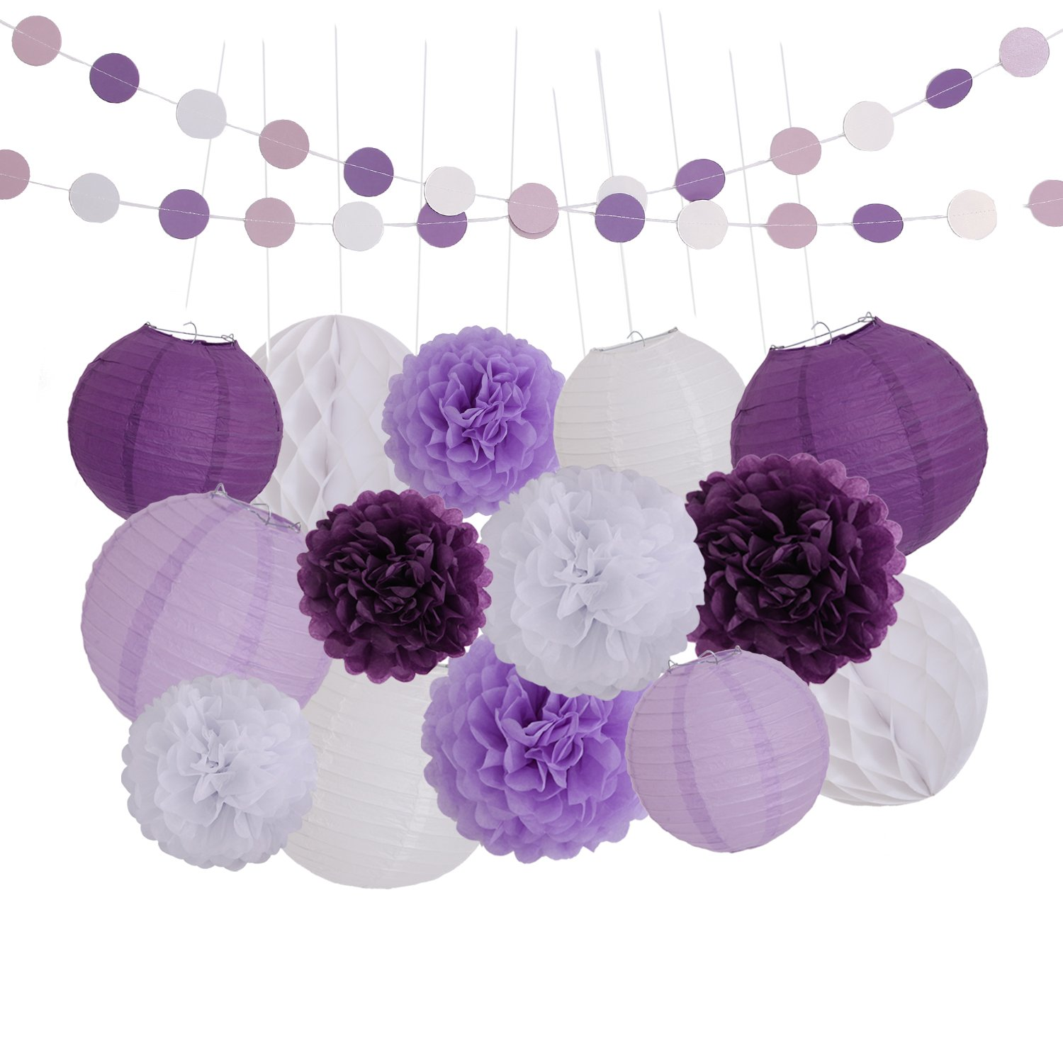 9f4be7baa2d LyButty 16 Pcs Dark Purple Lavender White Tissue Paper Pom Poms Flowers  Tissue Paper Lanterns Honeycomb
