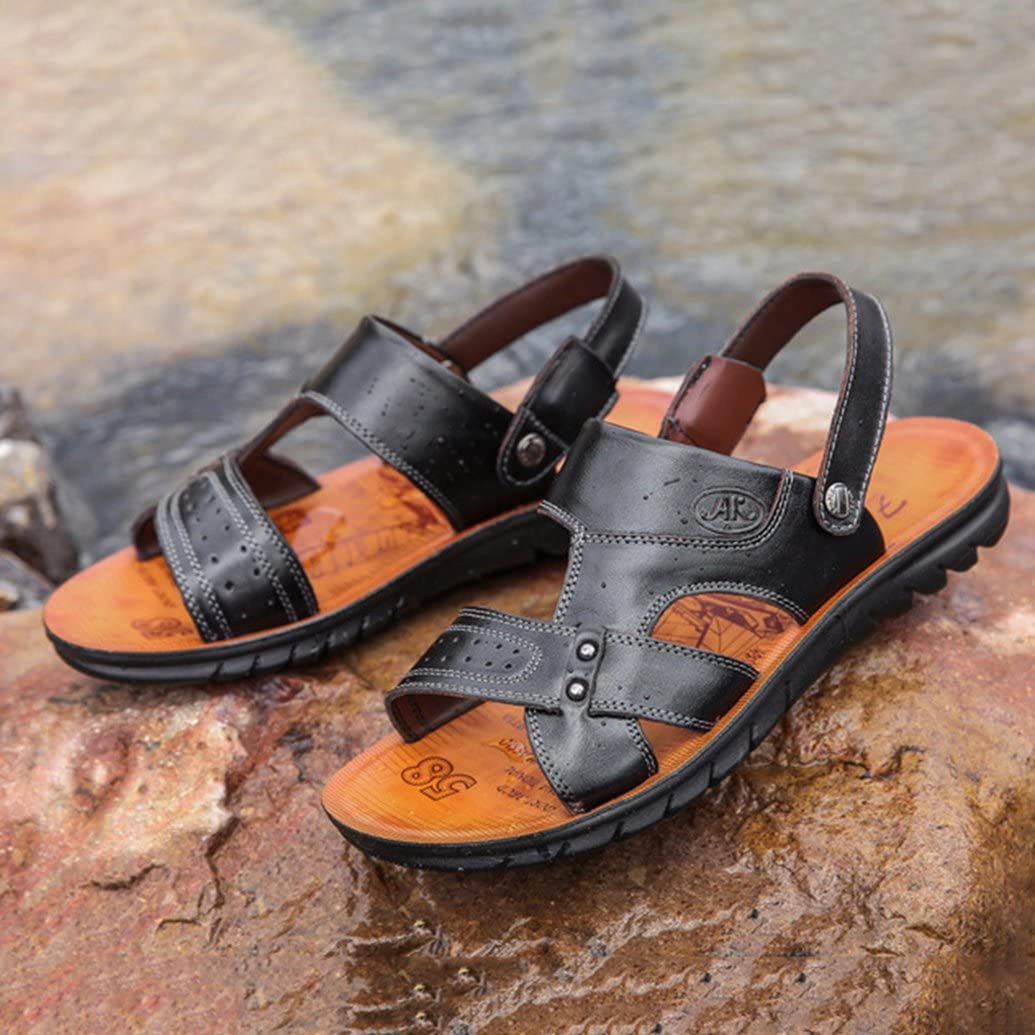 ASO-SLING Mens Leather Flat Sandbeach Sandals with Adjustable Back Strap Anti-slip Open Toe Slipper